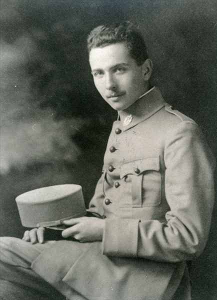 Louis Aragon (1897-1982) in uniform (b/w photo) by French Photographer, (20th century); black and white photograph; Private Collection; (add. info.: Leader of the Surrealist movement); Archives Charmet; copyright unknown